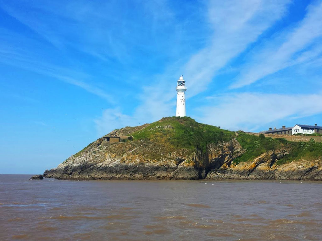 Flat Holm Lighthouse from the sea